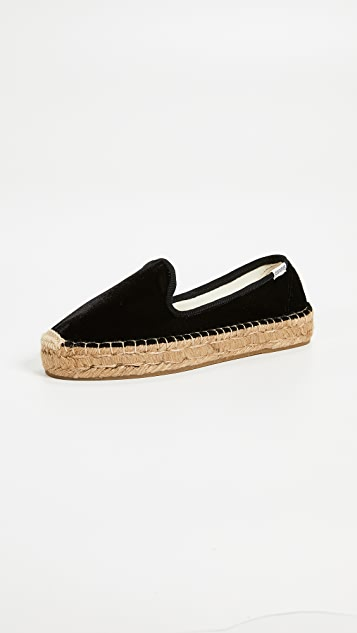Soludos Velvet Platform Smoking Slippers