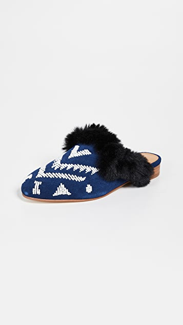 Soludos Sedona Faux Fur Beaded Mules - Navy