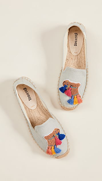 Soludos Tassel Camel Smoking Slippers - Chambray