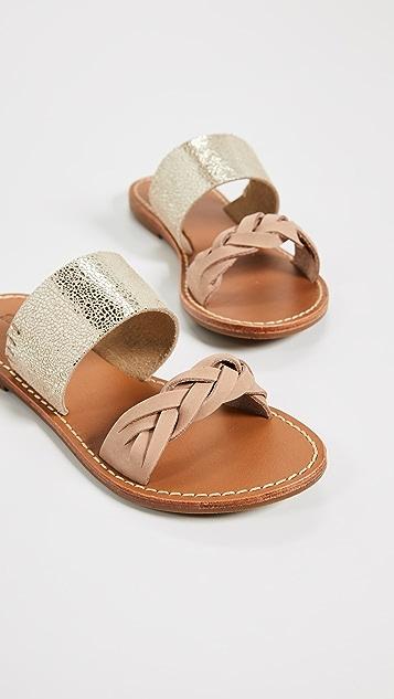 Soludos Металлизированные сандалии без застежки с заплетенной колосом отделкой