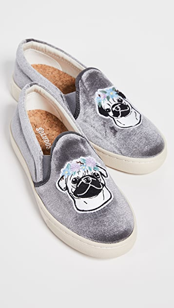 Soludos Flower Pug Slip On Sneakers - Gray