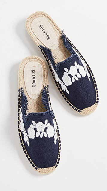 Soludos Frayed Floral Mules Espadrilles