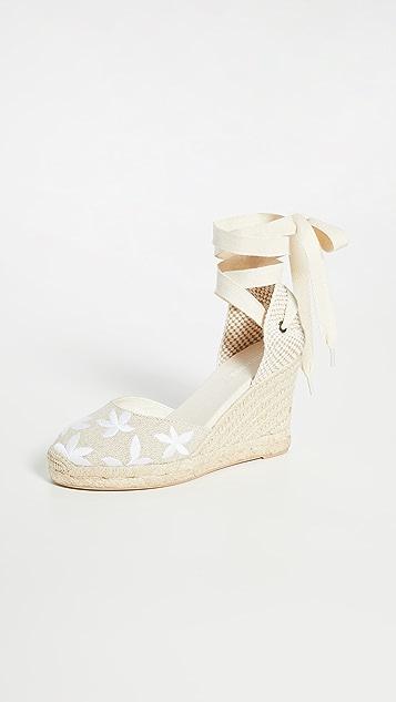 Soludos 花卉经典坡跟麻编鞋