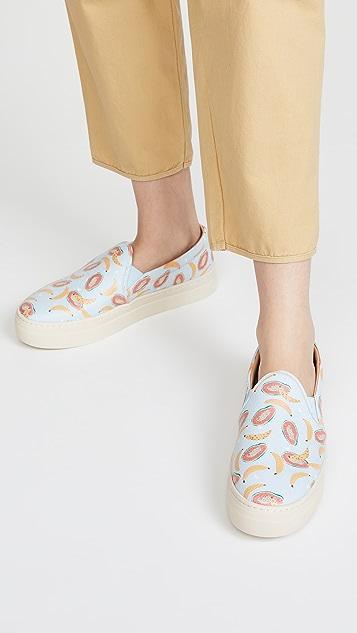 Soludos 木瓜和香蕉印花运动鞋