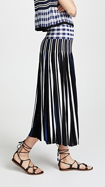Sonia Rykiel Plaid Pleated Midi Skirt