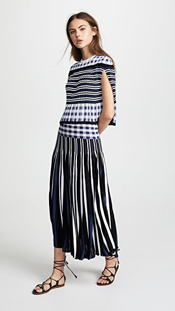 91a949d1d3 Sonia Rykiel Plaid Pleated Midi Skirt | SHOPBOP