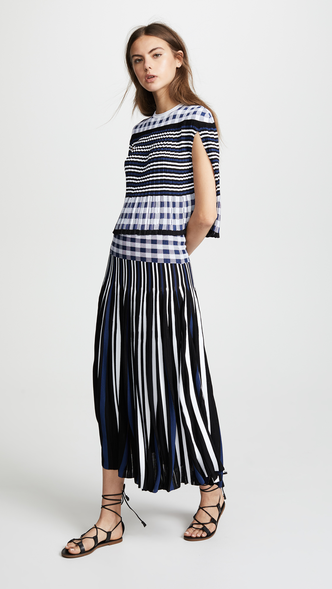 kollette sonia rykiel plaid pleated midi skirt the world 39 s largest fashion stores in one place. Black Bedroom Furniture Sets. Home Design Ideas