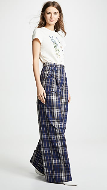 Sonia Rykiel Wide Leg Plaid Pants