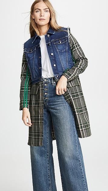 Sonia Rykiel Комбинированное пальто из денима и ткани в клетку