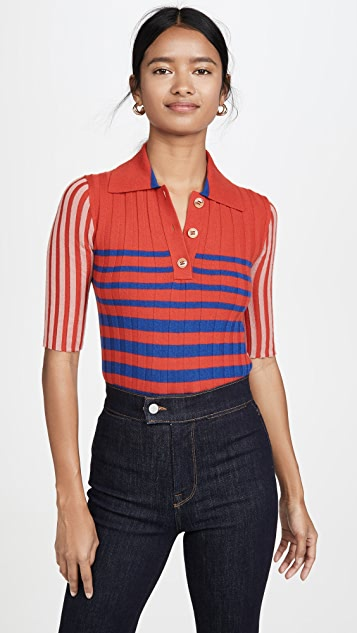 Sonia Rykiel Collared Striped Cashmere Knit