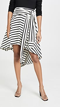 Striped Jersey Asymmetrical Skirt