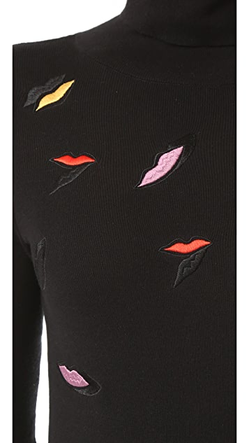 Sonia by Sonia Rykiel Embroidered Lips Turtleneck Sweater