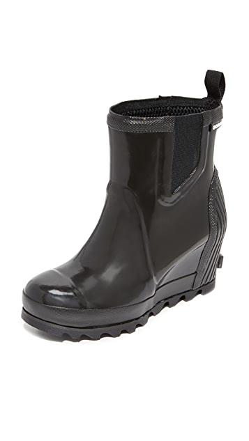 Sorel Joan Rain Wedge Chelsea Gloss Rain Booties