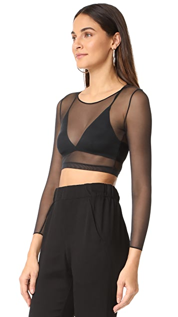 SPANX Sheer 3/4 Sleeve Crop Top