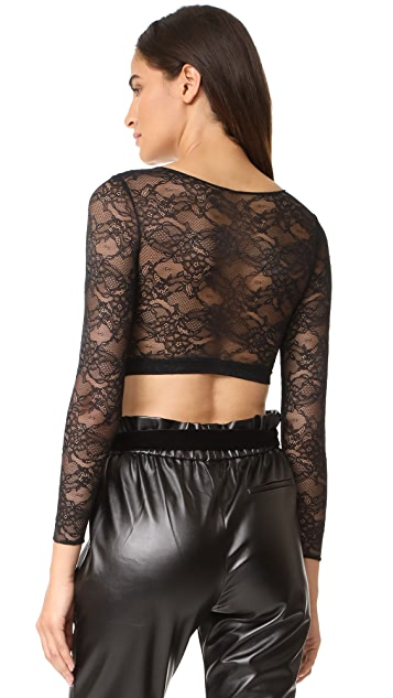 SPANX Sheer Lace Sleeve Crop Top