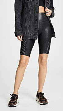 Faux Leather Moto Bike Shorts