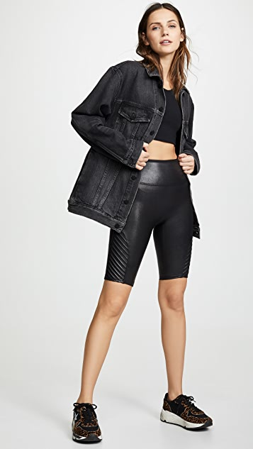 SPANX Faux Leather Moto Bike Shorts