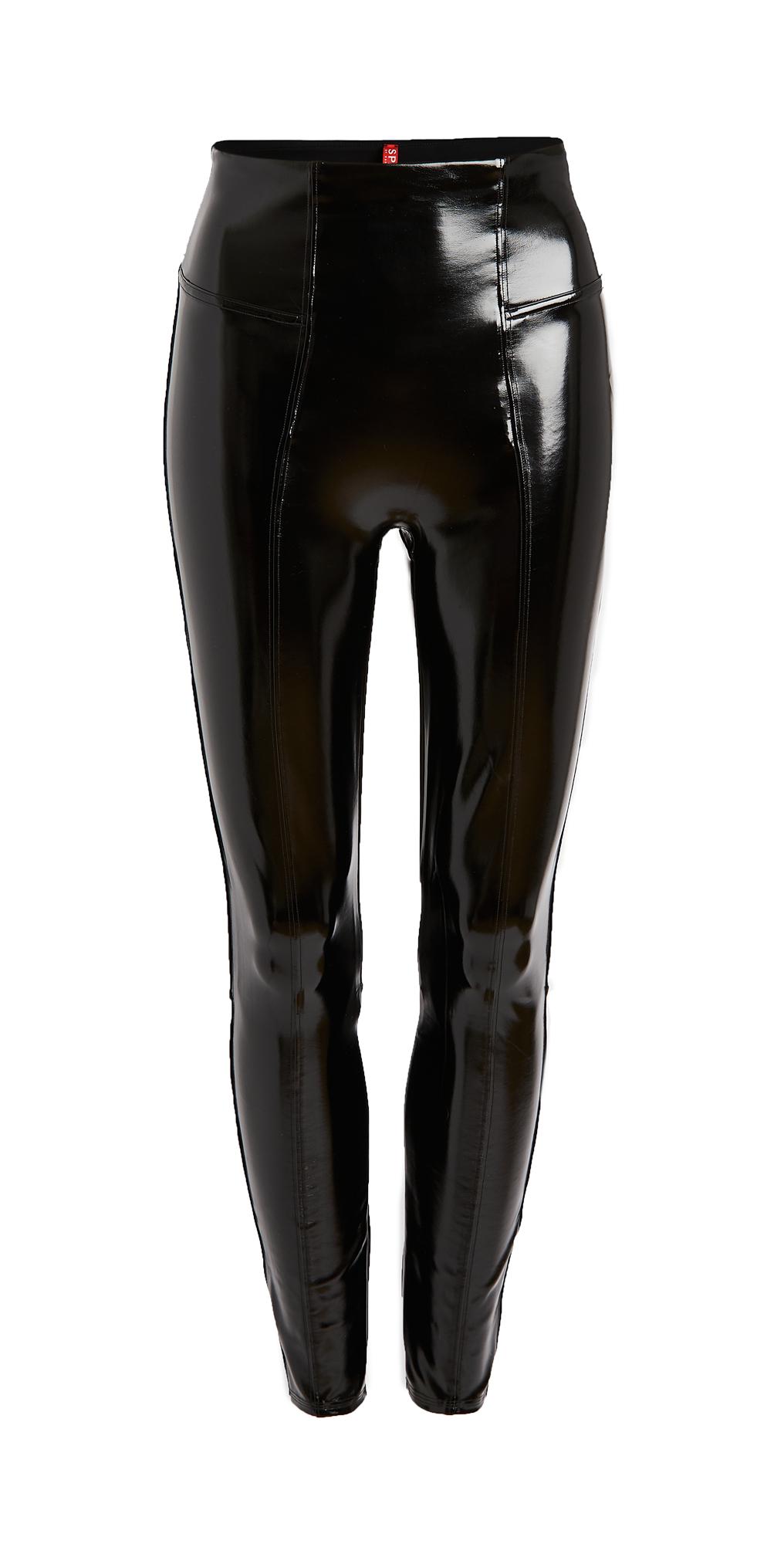 spanx faux patent leather leggings black 1x