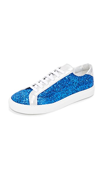 South Parade Glitter Lace Up Sneakers - Blue/Silver