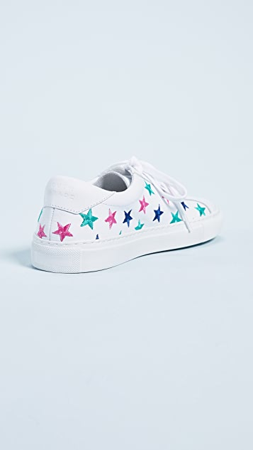 South Parade Stars Leather Lace Up Sneakers