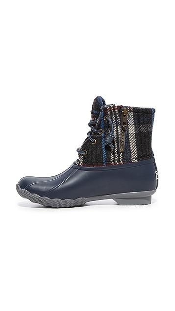 Sperry Saltwater Wool Plaid Booties