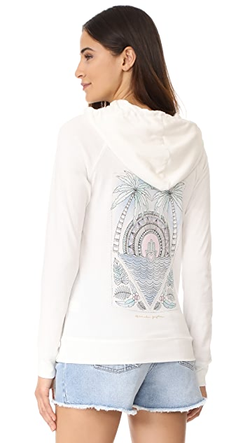 Spiritual Gangster Hamsa Tropical Palm Dharma Zip Hoodie