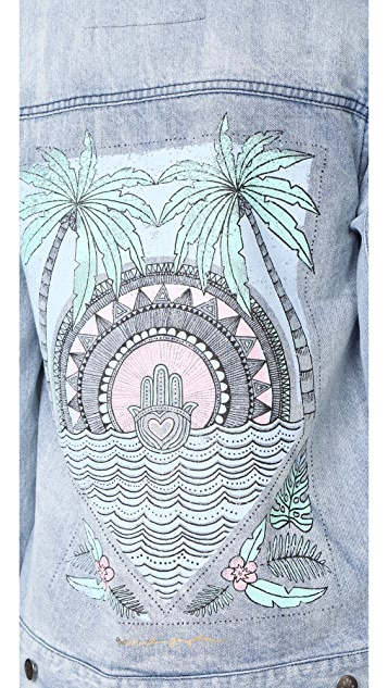 Spiritual Gangster Hamsa Tropical Palm Denim Jacket