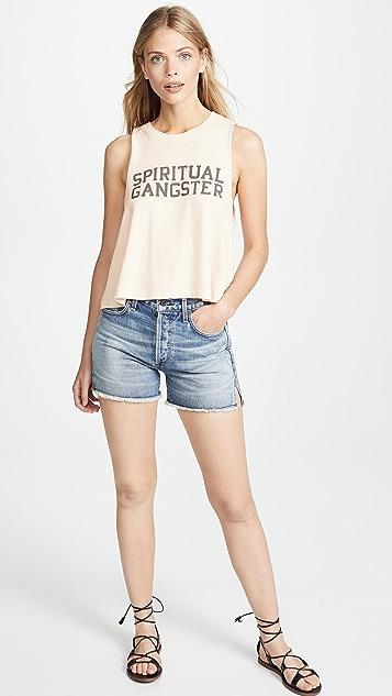 Spiritual Gangster Varsity Cropped Tank Top