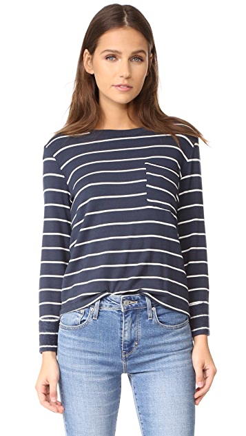 Splendid Dune Stripe Lace Back Sweatshirt
