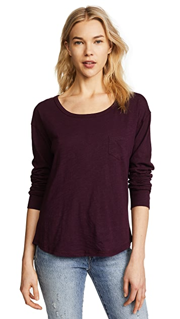Splendid Patch Pocket Long Sleeve Tee