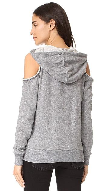 Splendid Soft Cotton Cold Shoulder Hoodie