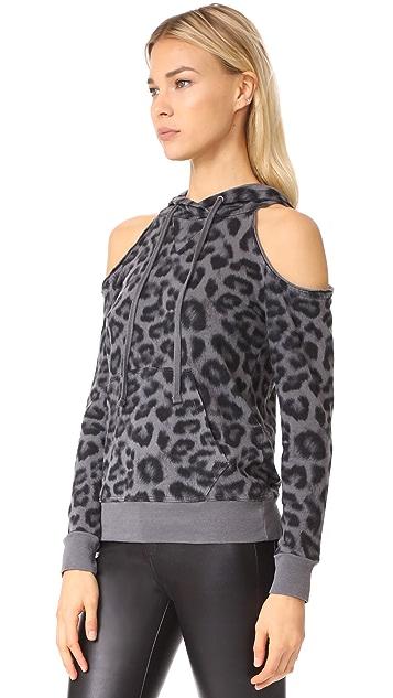 Splendid Printed Leopard Cold Shoulder Hoodie