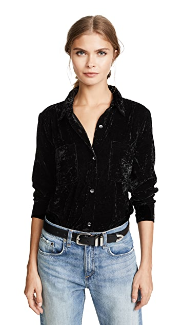 Splendid Crushed Velvet Button Down Shirt
