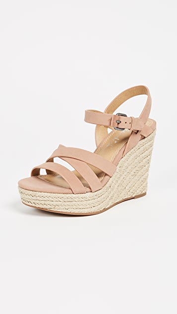 Splendid Billie Strappy Wedge Espadrilles - Dark Blush