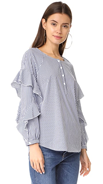 Splendid Ruffled Sleeve Button Down Shirt