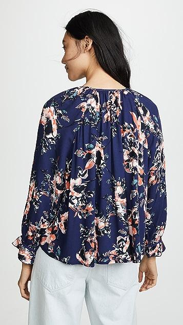 Splendid Painted Floral Blouse