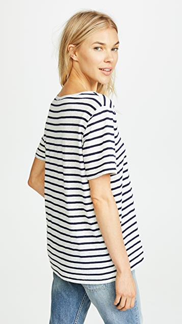 Splendid V Neck Stripe Tee