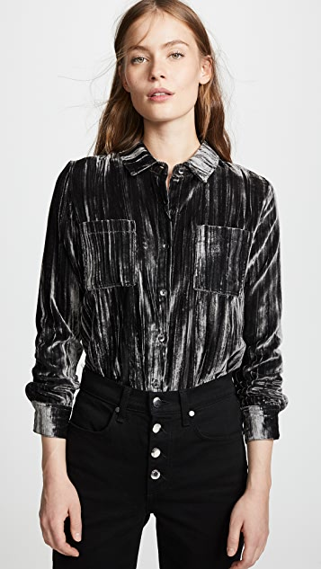Splendid Moonstone Velvet Button Down Shirt