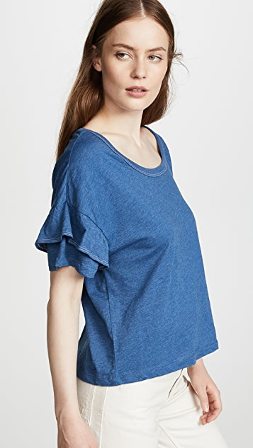 Splendid Short Sleeve Ruffle Tee