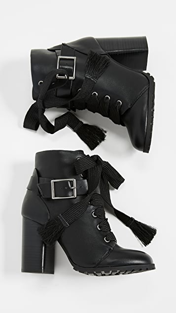 dc73f121e56 Cesar Block Heel Combat Boots