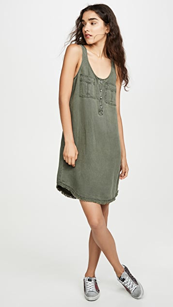 Splendid Linen Cargo Tank Dress