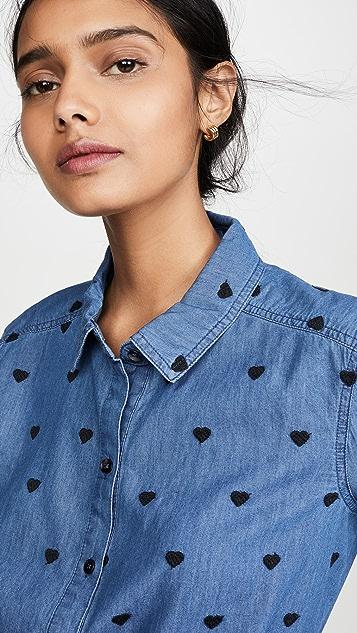 Splendid 靛蓝色零星心形系扣上衣
