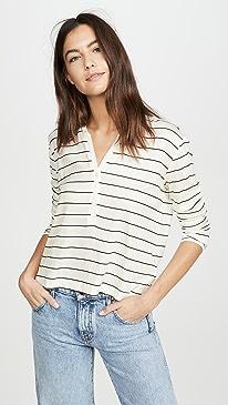 Long Sleeve Striped Henley