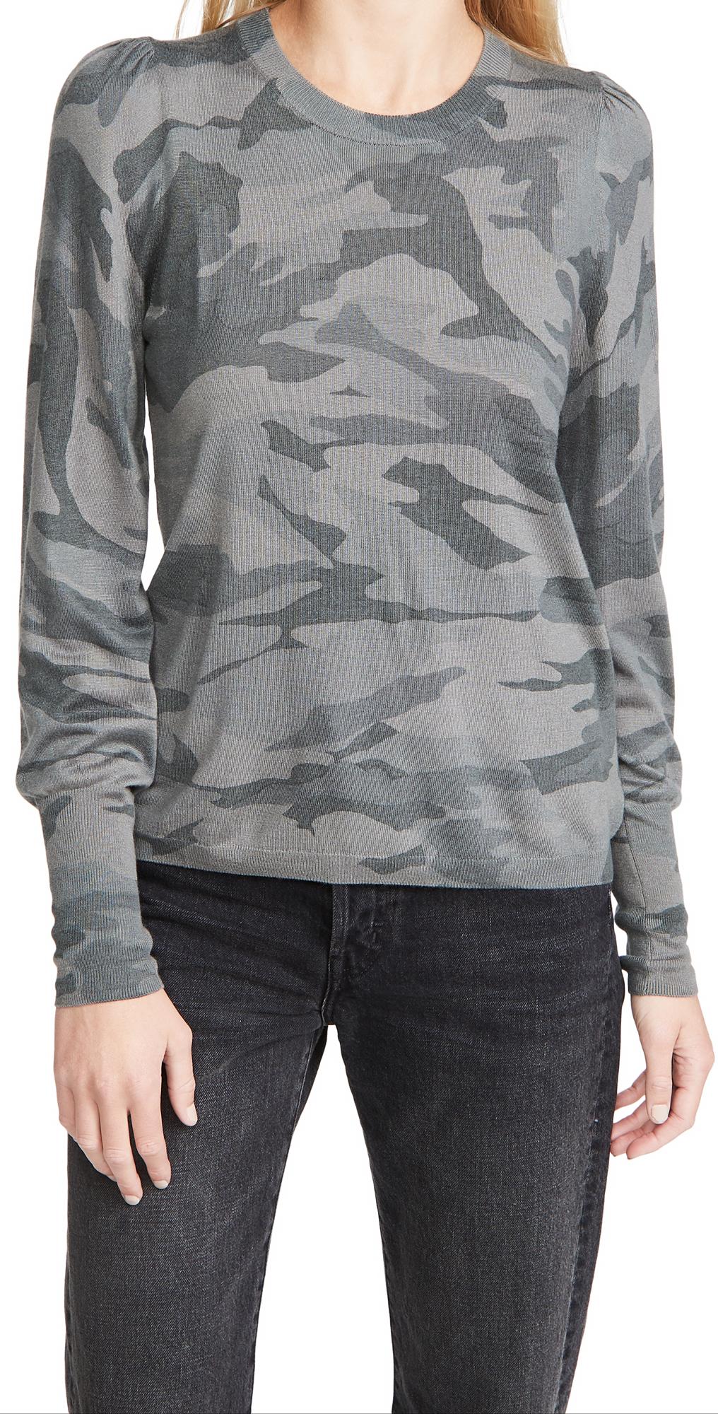 Splendid Camo Puff Sleeve Pullover