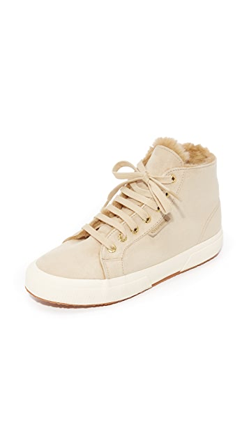 Superga 2795 Sherpa Lined High Top Sneakers - Natural