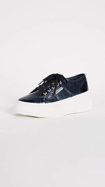 Superga 2287 Metallic Platform Sneakers - Blue