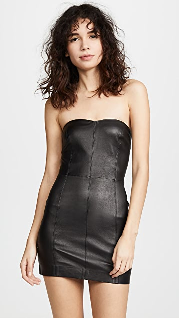 SPRWMN Strapless Leather Dress
