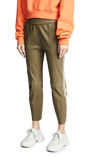 SPRWMN Stripe Leather Jogging Pants
