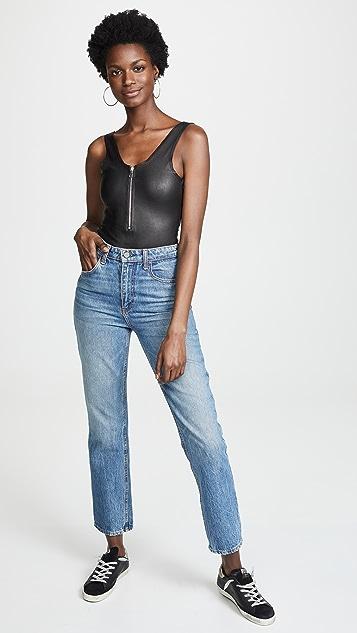 SPRWMN Leather Bodysuit with Front Zip