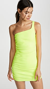 Shirred One Shoulder Dress